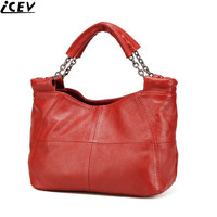 Hot Slae Casual Simple Cow Leather Patchwork Ruched Genuine Leather Bags Handbags Women Famous Brands Women