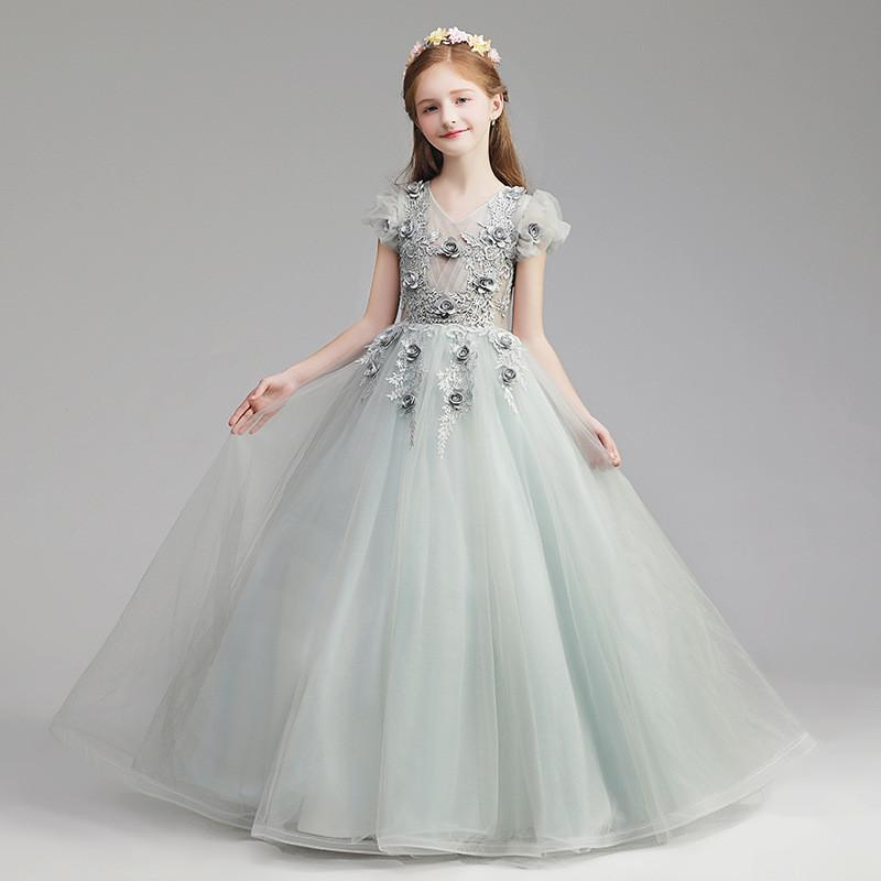 2019 New Kids Girl Tulle V-neck Ball Gown Teen Girl Princess Birthday Wedding Party Dress Children Lace Appliques Vestido Q5062019 New Kids Girl Tulle V-neck Ball Gown Teen Girl Princess Birthday Wedding Party Dress Children Lace Appliques Vestido Q506