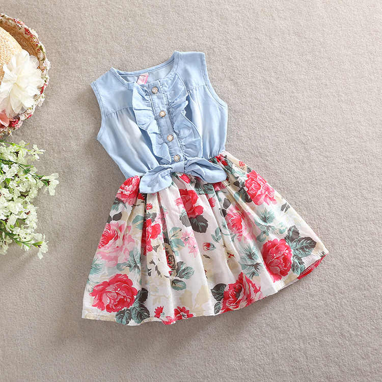 BibiCola 2020 baby girls flower party dress summer Floral clothing  toddler sleeveless cotton casual vest dresses Denim color
