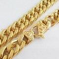 """Qualidade superior 7-40 """"Charming 13/15mm largura Moda Jóias Aço Inoxidável 316L Tom banhado a Ouro Colar Curb Cadeia masculina Pulseira"""
