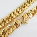 """Top Quality 7-40"""" Charming 13/15mm wide Fashion Jewelry 316L Stainless Steel Gold Tone plated Curb Chain Men's Necklace Bracelet"""