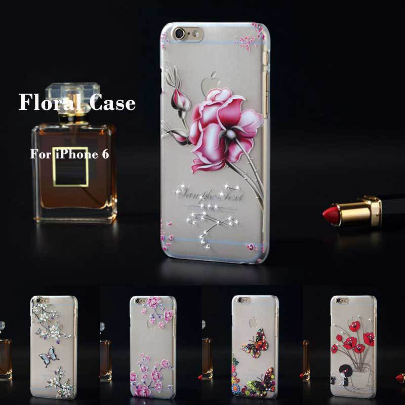 Luxury Bling Floral Rhinestone Painted 3D Relief Transparent sFor Apple iPhone 6 iPhone6 4.7 Case For iPhone 6 Phone Case Cover
