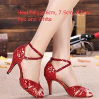 Womens Custom Sexy Red Salsa Dance Shoes Comfortable Practice Girls Ladies Tango Ballroom Latin Dance Shoes