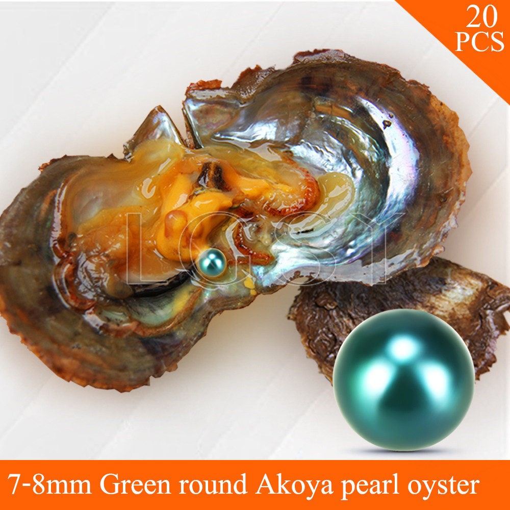 LGSY FREE SHIPPING Bead Green 7-8mm round Akoya pearl in oysters with vacuum package for women jewelry making 20pcs