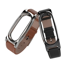 OOTDTY Faux Leather Wrist Strap Screwless Bracelet For Xiaomi Mi Band 2 Smart Watch