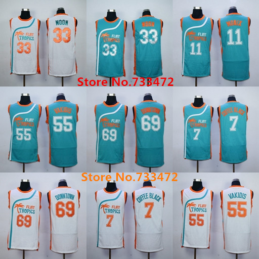New Flint Tropics Semi Pro Movie Basketball Jersey 7 Coffee Black 11 ED  Monix 33 Jackie Moon 55 Vakidis 69 Downtown Throwback Je e7410256b