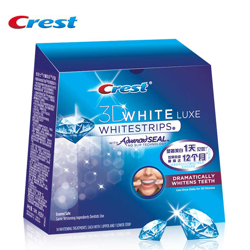 Crest  Advanced Vivid Whitestrips Oral Hygiene Dental White 14 Pouches/28 Strips for 14 Days Whitening Strips 10 pouches crest teeth whitening strips advanced vivid 3d white original oral hygiene tooth whitestrips no box free shipping