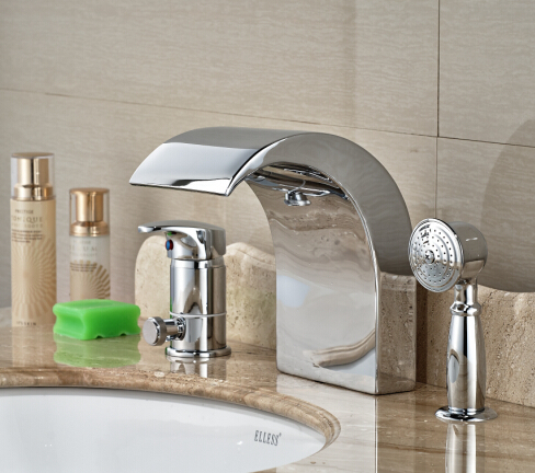 Brief Chrome Brass Bathroom Basin Deck Mounted Sink Faucet Waterfall Mixer tap Handles 3PCS luxury antique brass bathroom waterfall basin faucet sink mixer deck mounted 3pcs