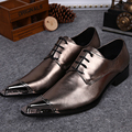 Christia Bella Luxury Genuine Leather Men Shoes Gold Party Business Formal Dress Shoes Pointed Toe Men Oxfords Lace Up Men Flats