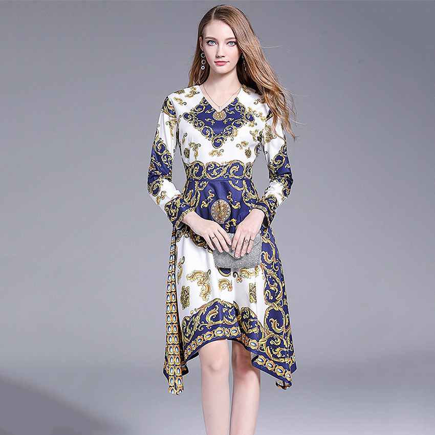 Women Spring Autumn Dress Long Sleeve Elegant Dress High Quality Fashion 2019 European Style Designer Runway