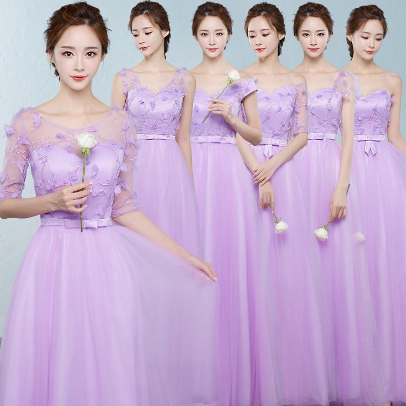 Atractivo Vestido De La Dama De Honor Púrpura Larga Festooning ...