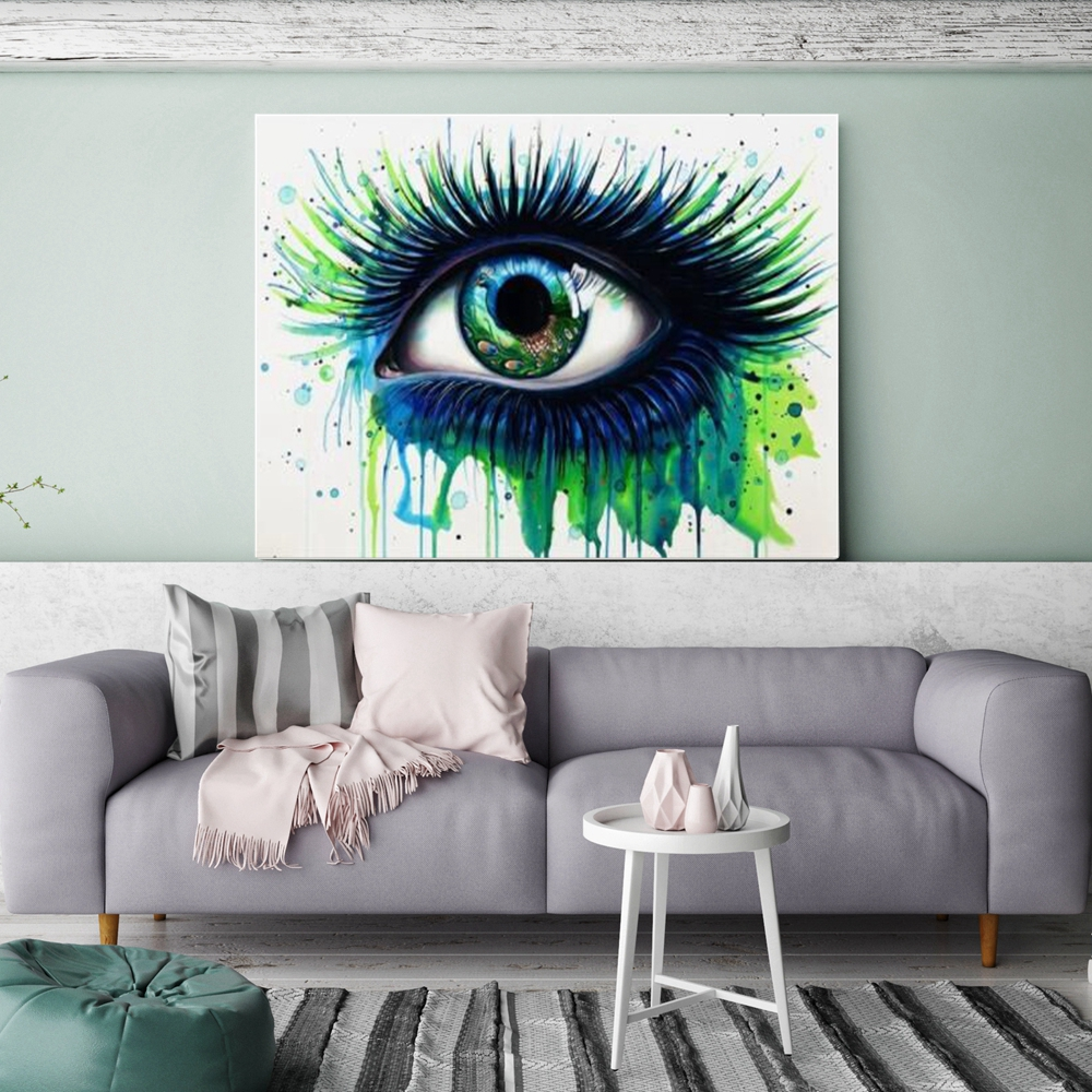 Abstract Green Eye Canvas Painting Wall Art Picture For Home Living Room Decor Eye Artwork Poster Canvas Print Drop Shipping In Painting Calligraphy