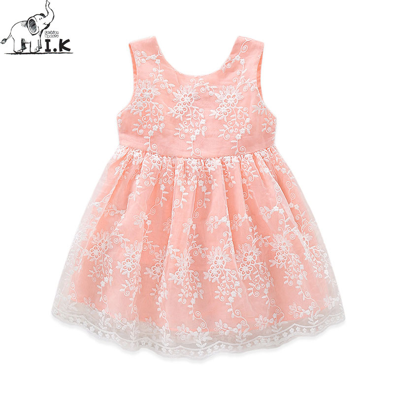 I.K Baby Girls Dress Big Bowknot For Party And Wedding Flower Lace Elegant Sundress Sleeveless Brand Summer Cotton vestido B1008 baby girls infant wedding party bowknot sleeveless ruffled vest dress sundress
