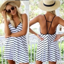 Women's Backless Dress V Collar Stripes Summer Loose Lady Sexy Fashion Clothing