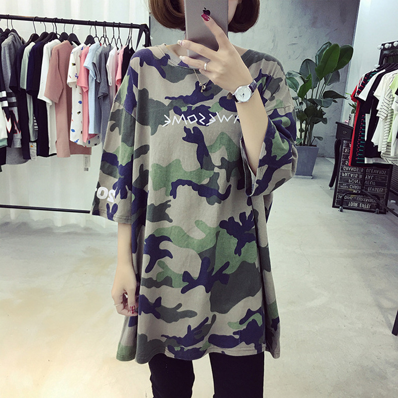 summer womens t shirts knitted camouflage print plus size tees maternity T shirts pregnant summer clothing 7161