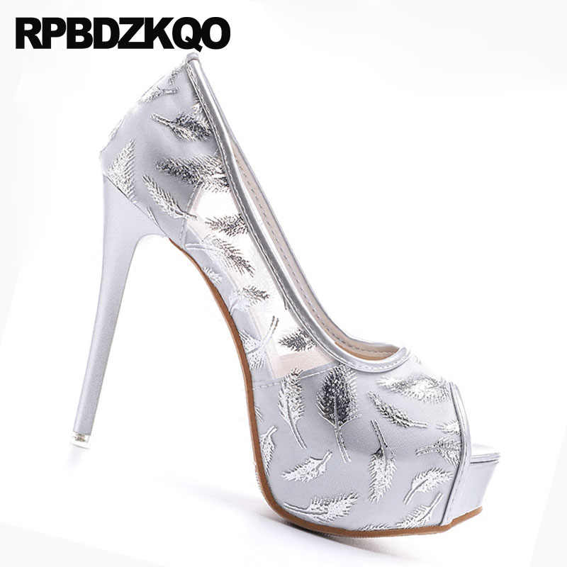 ... Silver Stiletto Super Prom Platform Fetish Party Shoes 14cm Women High  Heels Sandals Pumps Cheap Peep ... e586e52285fb