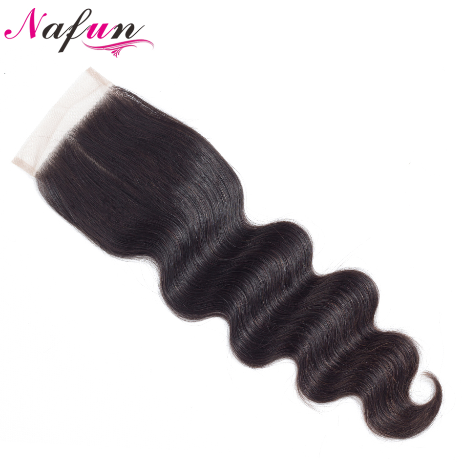 NAFUN Hair Malaysia Body Wave Closure 100% Human Hair Lace Closure 8-20 Non Remy Natural Color Hair Swiss Lace Free Shipping