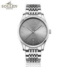 Top Brand Sollen Теги Часы Мужчины Люкс Силвер Механические Часы мужской Моды из нержавеющей стали календарь Наручные Часы Montre