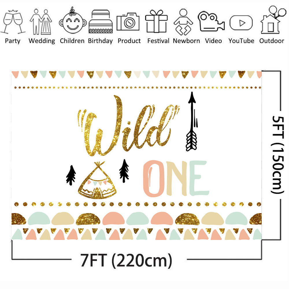 Image 3 - Mehofoto Wild One Birthday Photo Background Baby Party Banner Backdrop Newborn Gold Sequin Customized Backdrops for Studio Shoot-in Background from Consumer Electronics