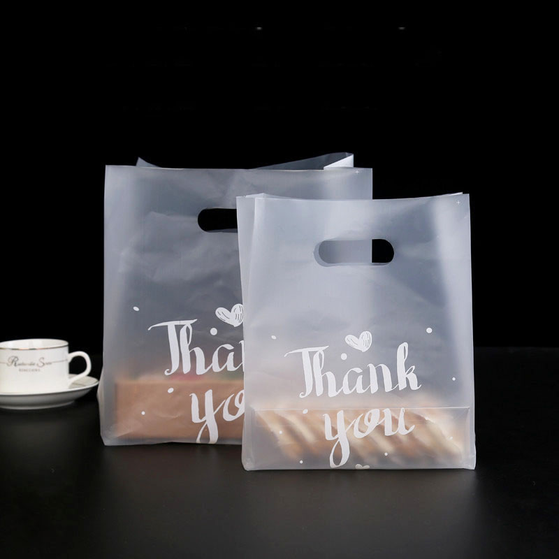 50pcs Thank You Bread Bag Plastic Candy Cookie Gift Bag Wedding Party Favor Transparent Takeaway Food Wrapping Shopping Bags