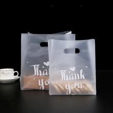 50pcs תודה לחם שקית פלסטיק סוכריות קוקי מתנת תיק מסיבת חתונה לטובת שקוף Takeaway מזון גלישת קניות שקיות