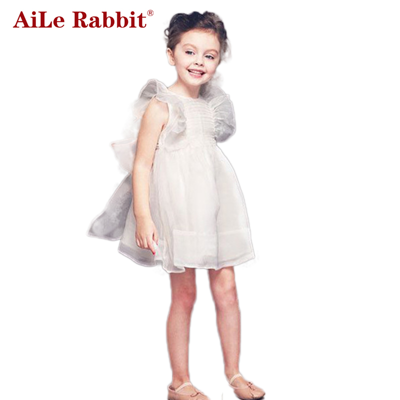 AiLe Rabbit 2017 new Summer Ruffles Doll shirt dress Children's girls clothing kids clothes Fairies dress aile rabbit girls dress 2017 new summer style fruit pineapple pattern printing design for baby girls dress children clothing