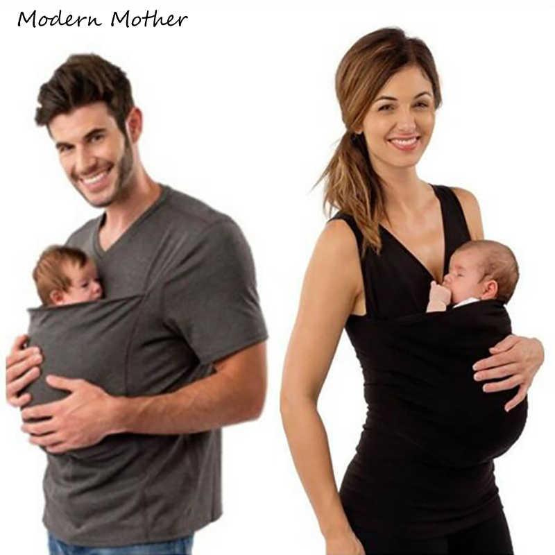 ครอบครัวเด็กเสื้อผ้า Kangaroo เสื้อยืดสำหรับพ่อแม่เด็กทารกแขนสั้นกระเป๋าขนาดใหญ่ Tops Maternity เสื้อผ้า