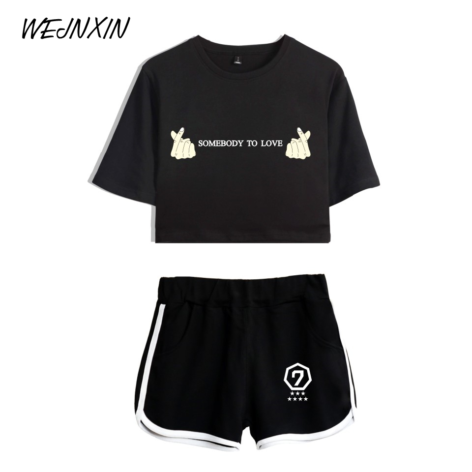 WEJNXIN Summer Kpop GOT7 Sexy Tracksuit Women SOMEBODY TO LOVE Two Piece Set Women GOT7 Letter Print Crop Top And Pants Set