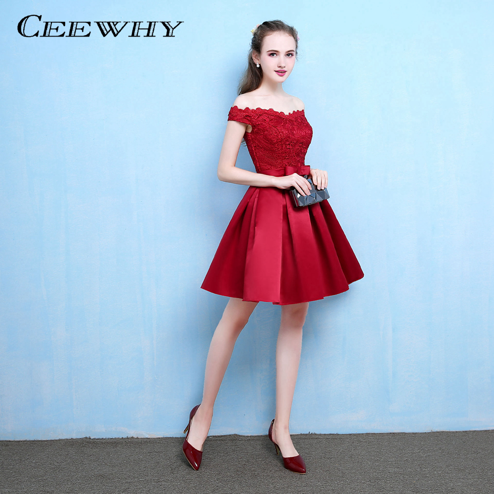 CEEWHY Boat Neck Lace Party Dress Satin A line Formal Dress Knee Length Cocktail Dress Short
