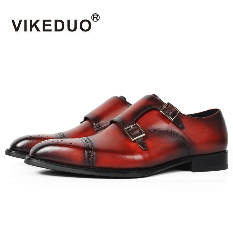 Vikeduo Vintage Custom Handmade Male Genuine Leather Shoes Fashion Wedding Party Dress Shoe Casual Original Design Men Monk Shoe