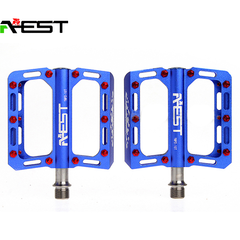 AEST 4 Seald Cartridge Bearing Cycling Bike Bicycle CNC Body Titanium Ti Spindle Axle MTB BMX Platform Flat Pedals-10T, 5 Color rockbros bike mtb magnesium pedals platform cnc steel axle titanium axle magnesium ouriding bike parts platform bike pedal