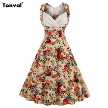 Tonval 2017 Sexy V Neck Floral Vintage Dress Women Tunic Elegant 50s Retro Plus Size 4XL Summer Party Swing Dresses