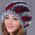 2016 New Hat Women Cap Color Striped Genuine Caps Winter Rex Rabbit Fur Warm Cute Elegant Casual Beanies Hat