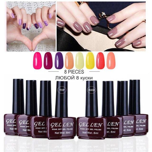 Gel Len 8pcs Gel Nail Polish Set Base Top Coat Set 240 Colors Brand ...