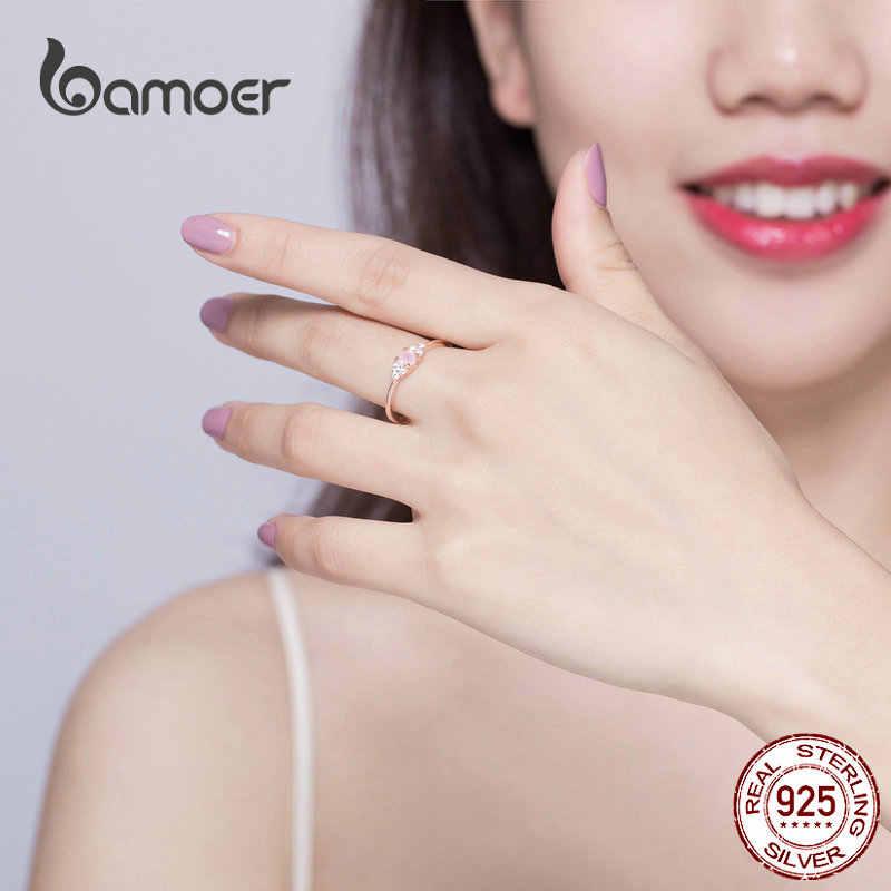Bamoer สีชมพูแหวนคริสตัลคริสตัลสำหรับสตรี Rose Gold สีแท้ 925 Stelring แหวนเงินหรูหราเครื่องประดับ SCR534