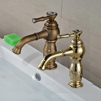 Two Colors Wash Basin Sink Countertop Faucet Antique Brass Gold Finish Deck Mounted