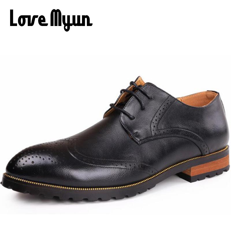 2018 new men fashion dress wedding shoes real leather Pointed toe brogue shoes lace up Business party Nightclubs shoes WA-50 new top fashion men s genuine real full grain leather qshoes men business casual dress shoe steel pointed toe shoes slm271