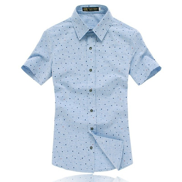 2017 New Arrivals Fashion Summer Men Short Sleeve Cotton Dress Shirts Camisa Masculina Big Size M-5XL