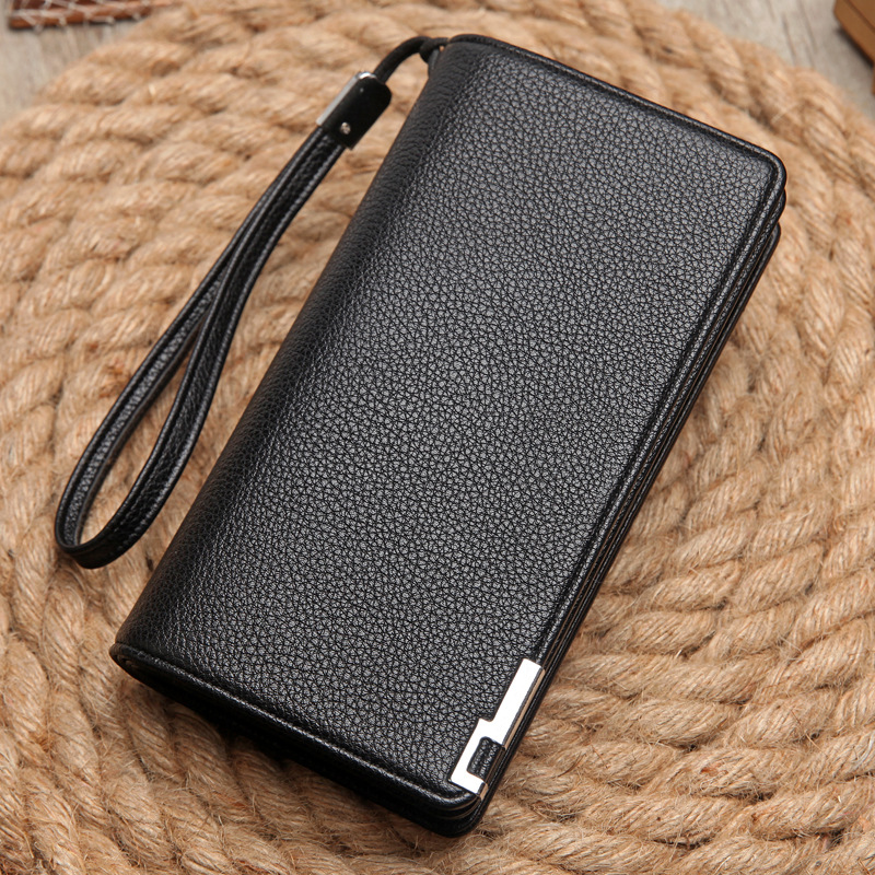 2018 Men Leather Wallet Strap High Quality Zipper Wallets Men Brand Long Purse Male Clutch Casual Style Long Money Card Coin Bag vintage genuine leather wallets men fashion cowhide wallet 2017 high quality coin purse long zipper clutch large capacity bag