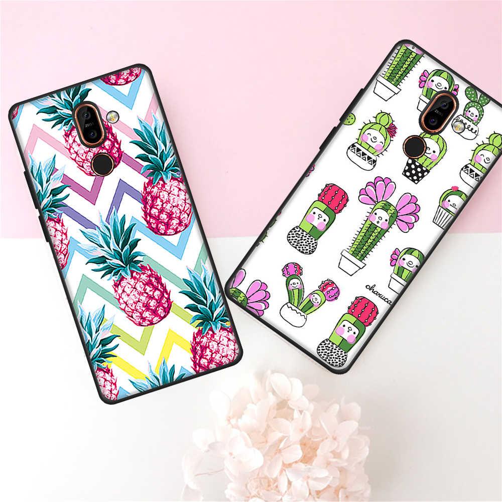 สำหรับ Nokia 5 7 Plus Tropical พืชน่ารัก Cat สำหรับ Nokia 3 2018 7 Plus 5 8 ดอกไม้แคคตัสรูปแบบการพิมพ์ฝาครอบ Coque