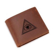 Movie Eye of God Wallets Men Custom Name or Picture Creative Purse Gifts RFID Card Wallet ID Holders Genuine Leather Wallets(China)