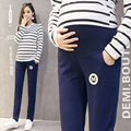 Maternity long pants skinny legs embroidery pattern patched with side pockets adjustable waist sash