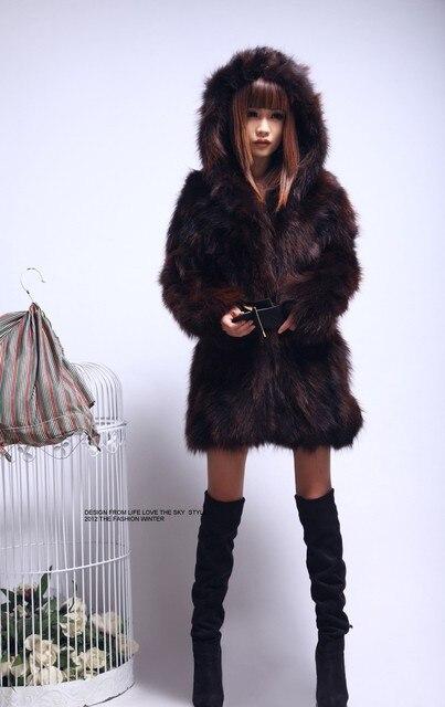 5533b11e95c Free shipping New genuine real raccoon fur coat women long natural fur  jacket Luxurious winter waistcoats