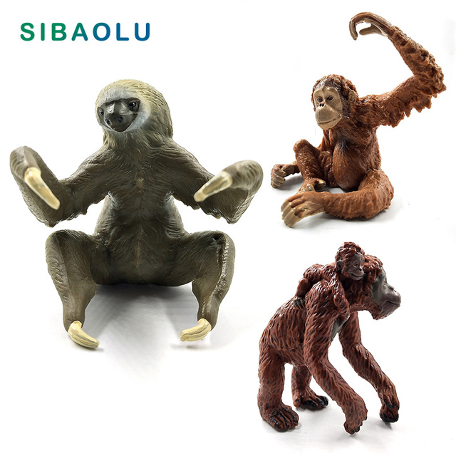 Sloth Orangutan Chimpanzee gibbon Monkey Animal model figurine home decor miniature fairy garden decoration accessories statue 1