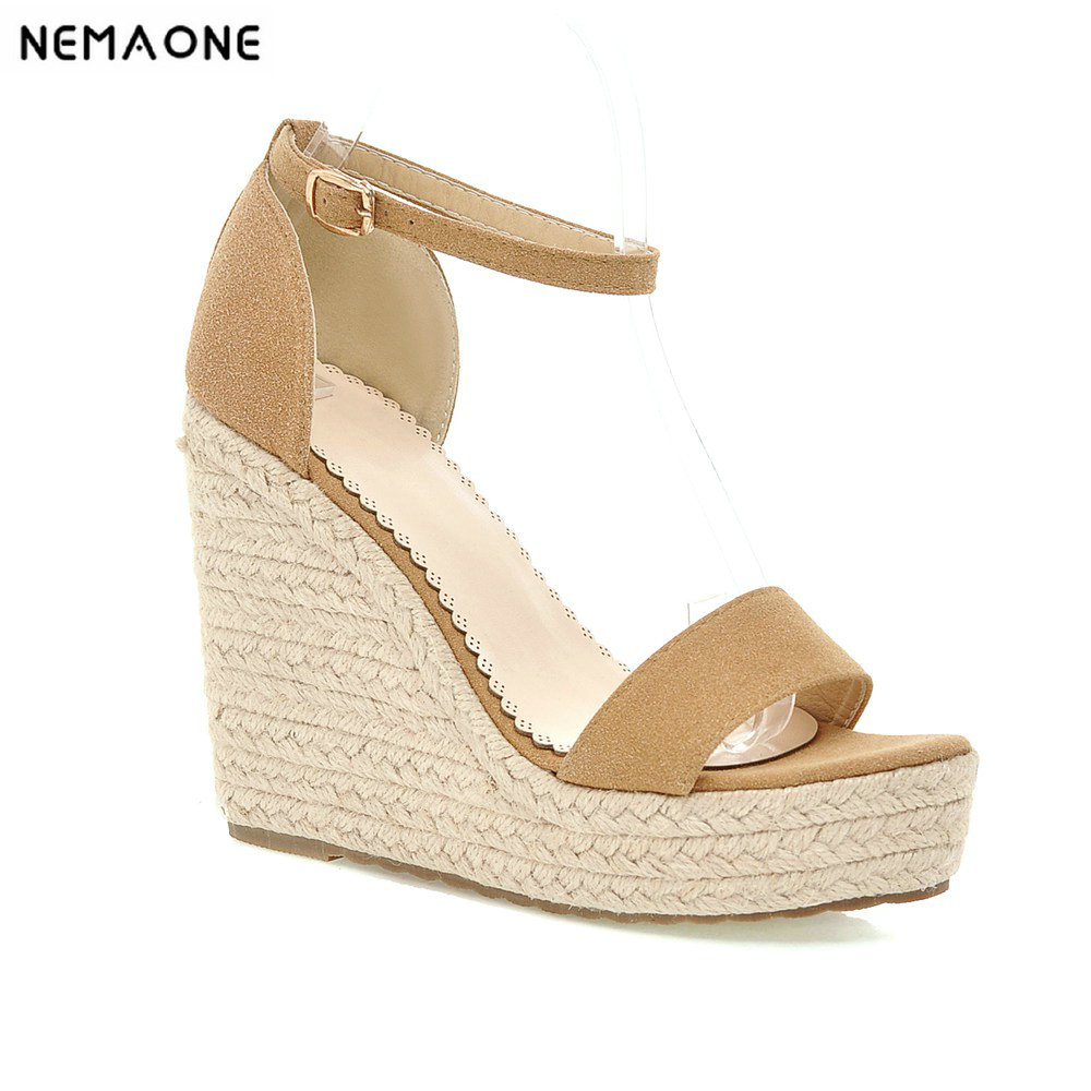 NEMAONE Natural Suede Leather Sandals Women Super High Heels Open Toe Fashion Ladies Shoes Platform Wedge Sandals size 15 16 17 boldees chic women open toe wedge sandals awesome purple suede dress shoes super high platform nighclub sandals hot plus size43