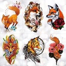 Watercolor Wolf Fox Totem Tiger Waterproof Temporary Tattoo Sticker Geometric Triangle Flash Tattoos Body Art Fake Tatoo