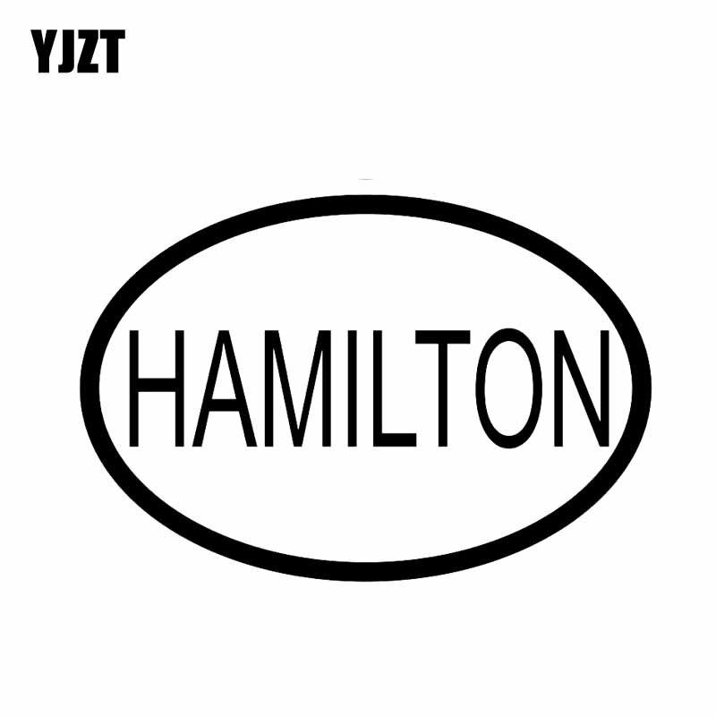 YJZT 13.1CM*8.9CM HAMILTON CITY COUNTRY CODE OVAL VINYL DECAL CAR STICKER Black Silver C10-01373