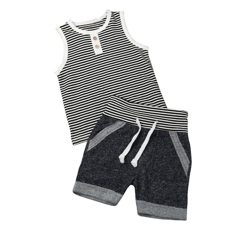 Summer baby boy clothes Newborn Infant Baby Boy Stripe T shirt Tops Shorts Pants Outfit Clothes Set roupas infantis menino 6-24M