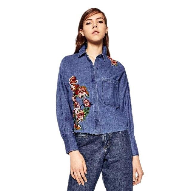 df9a4841aff8 € 15.26 |Festival de la mujer Foral Bordado Jeans Blusas Camisa Vaquera de  Manga Larga de Moda Tops Chemise Femme en Blusas y camisas de La ropa de ...