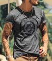 T-shirt dos homens de Slim lavado dos homens tops de manga curta Retro impresso marca t-shirt do estilo Europeu de luxo 2016 top moda verão